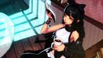 Обои Blake Belladonna / Блейк Белладонна читает книгу с кружкой кофе в руке из аниме RWBY / Красный, Белый, Черный, Желтый