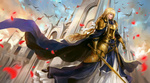 Обои Alice Synthesis Thirty / Алиса Синтезис Сети (Alice Schuberg / Алиса Цуберг) на фоне центрального собора церкви аксиомы арт персонажа из аниме Sword Art Online Alicization / Мастера Меча Онлайн Алисизация