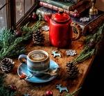 Обои Кофейник, кружка кофе, еловые ветки, новогодние украшения, шишки и стопка книг на окне