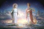 Обои Две святые женщины из разных религий смотрят на город с высоты, by YaPing Zhang