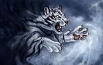 Обои Белый тигр на фоне неба с молниями, art by FlashW