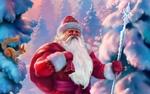 Обои Белочка, сидя на заснеженной ели, смотрит на идущего с мешком подарков и посохом Деда Мороза, art by Eldar Zakirov