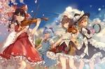 Обои Reimu Hakurei / Рейму Хакурей, Marisa Kirisame / Мариса Кирисаме, Cirno и Aya Shameimaru играют на музыкальных инструментах из серии компьютерных игр Touhou Project / Проект «Восток»