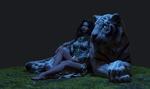 Обои Эльфийка Tyrande / Тиранда и тигрица Ashalah / Ашхала из игры World of Warcraft / Мир военного ремесла, by George Panfilov
