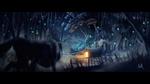Обои Волк смотрит на зимний домик в ночи, Andrew Morris