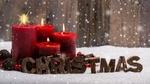 Обои Надпись Christmas / Рождество с красными свечами
