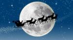 Обои Силуэт Санты на санях с оленями на фоне луны