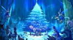 Обои Волшебные существа и жители леса собрались вместе перед самой красивой елью и ждут наступления Нового Года