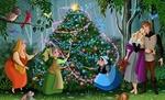 Обои Принцесса Aurora / Аврора, принц Philip / Филипп и лесные животные наблюдают за феями крестными, наряжающими елку при помощи магии арт персонажей из мультфильма Sleeping Beauty / Спящая красавица