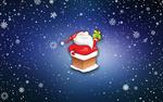 Обои Дед Мороз с подарком