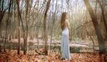 Обои Девушка в вечернем платье в осеннем лесу