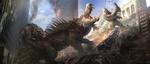Обои Битва монстров в городе, арт к фильму Рэмпейдж / Rampage, by Aaron Sims Creative