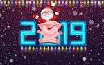 Обои Дед Мороз и символ нового 2019 года - свинка на фоне снежинок