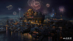 Обои Плавучая деревня Южного моря, китайский остров Галеон, by Роуэна Ван