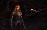 Обои Рыжеволосая девушка-рыцарь стоит в Dark Forest / темном лесу, by Qichao Wang