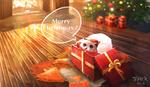 Обои Сова в новогоднем колпаке сидит в подарочной коробке (Merry Christmas!)