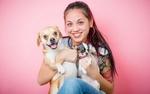 Обои Девушка с собакой и щенком