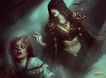 Обои Вампирша и девушка в цепях из игры Magic The Gathering, by Bastien Lecouffe Deharme