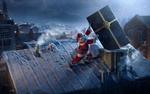 Обои Дед Мороз доставляет подарок через дымовую трубу