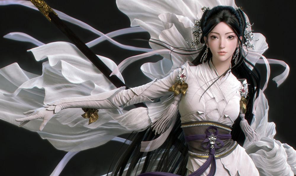 Обои для рабочего стола Девушка-азиатка в белом платье, by Chao Dong