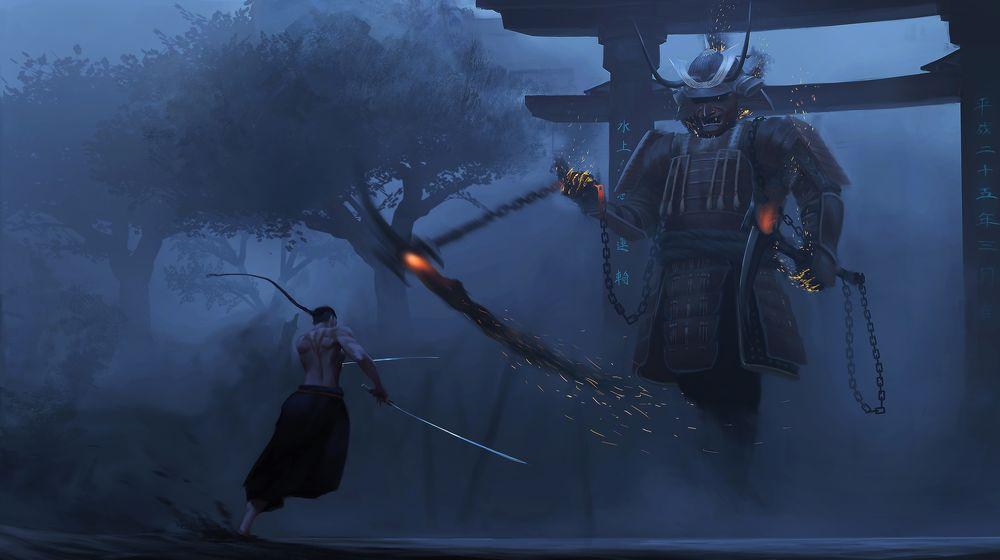 Обои для рабочего стола Самурай сражается с призраком в доспехах в тумане перед воротами тории, by Paul Nong