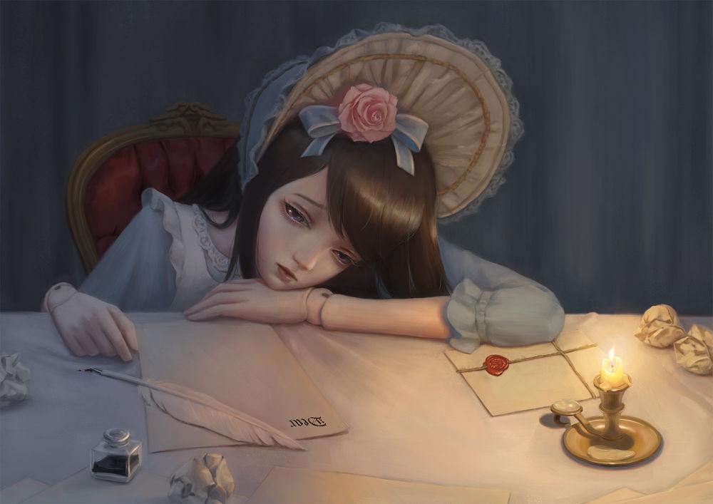 Обои для рабочего стола Печальная девушка-кукла пытается написать письмо, art by bibido
