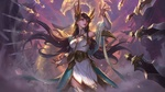 Обои Irelia / Ирелия на фоне огненного дракона в небе из игры Лига Легенд / League of Legends, by Bo Chen