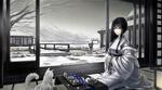 Обои Девушка в кимоно и кошка вместе встречают зимнее утро