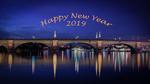 Обои Надпись Happy New Year 2019! / Счастливого нового года 2019! на небе над мостом ночного города, by Andrew Bosak