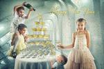 Обои Happy New Year / счастливого нового года, дети у стола с бокалами шампанского, by John Wilhelm