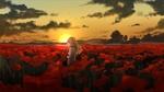 Обои Rachel Gardner / Рейчел Гарднер из аниме Ангел кровопролития / Satsuriku no Tenshi стоит на поле с маками