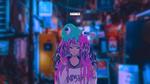 Обои Девушка с монстром из слизи на голове стоит на улице вечернего города, by Captain-Tree