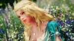 Обои Белокурая девушка - эльфийка среди цветущего луга