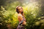 Обои Девушка позирует в лесу в лучах солнца