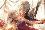 Обои Парень держит спящую девочку, персонажи из аниме Fate Grand Order / Судьба Великий приказ