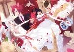 Обои Ушастые жених с невестой режут свадебный торт, рядом забавные чибики