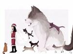 Обои Девочка в новогоднем костюме с мешком за спиной и кошками