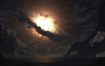 Обои Человек стоит у озера на фоне взрыва сверхновой звезды в ночном небе
