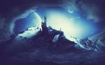 Обои Человек стоит в горах возле замка на фоне космического пейзажа