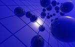 Обои Фиолетовые сферы на фоне клетчатой текстуры