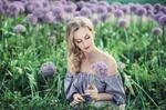 Обои Девушка в поле с цветами
