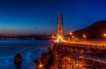 Обои Освещенный висячий мост через пролив Золотые Ворота, San Francisco / Сан-Франциско