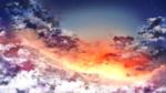 Обои Зарево в облаках, на фоне звездного неба
