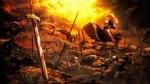 Обои Сейбер / Артурия Пендрагон / Saber / Arthuria Pendragon из аниме, манги и визуальной новеллы Fate / stay night, страдает на поле боя