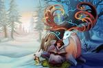 Обои Девочка-эскимос в зимнем лесу читает книгу сидя рядом с оленем, by Alexandra Semushina