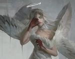 Обои Девушка-ангел с окровавленными руками