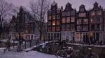 Обои Вечер на набережной Амстердама / Amsterdam, Нидерланды / Netherlands