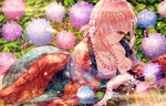 Обои Девушка с повязкой на глазу лежит у воды на фоне цветущей гортензии из аниме и игры Fate Grand Order / Судьба Великий приказ
