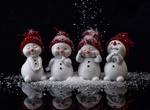 Обои Четыре снеговика в шапочках, by Alexas_Fotos