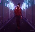 Обои Парень с ангельскими крыльями на ночной улице, by LonelyLemonLion